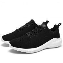 Full Black Supportive Tennis Shoes , Good Walking Tennis Shoes Lace Up Closure