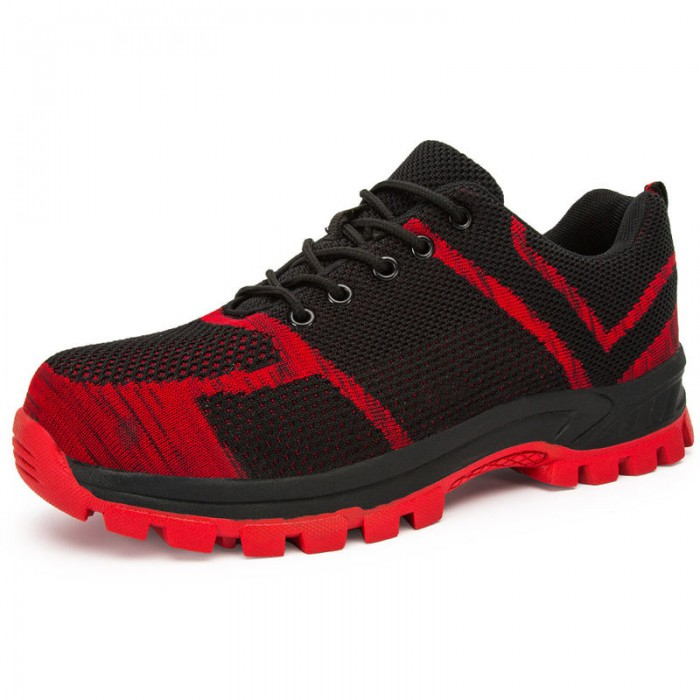 Slip Resistant Safety Footwear Trainers Suede Cow Leather Upper Material