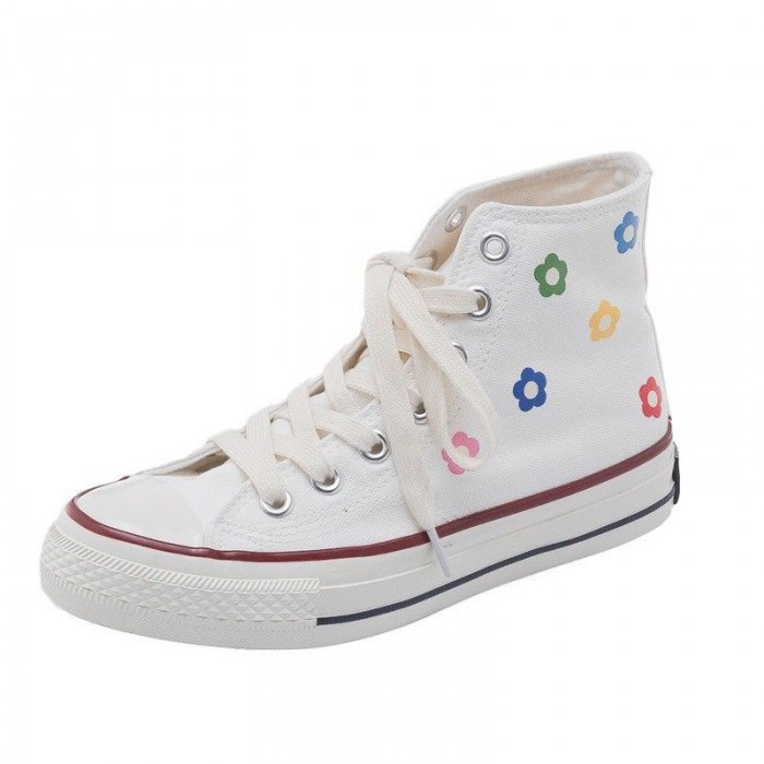 Rubber Outsole Canvas Sports Shoes , High Top Canvas Shoes Womens