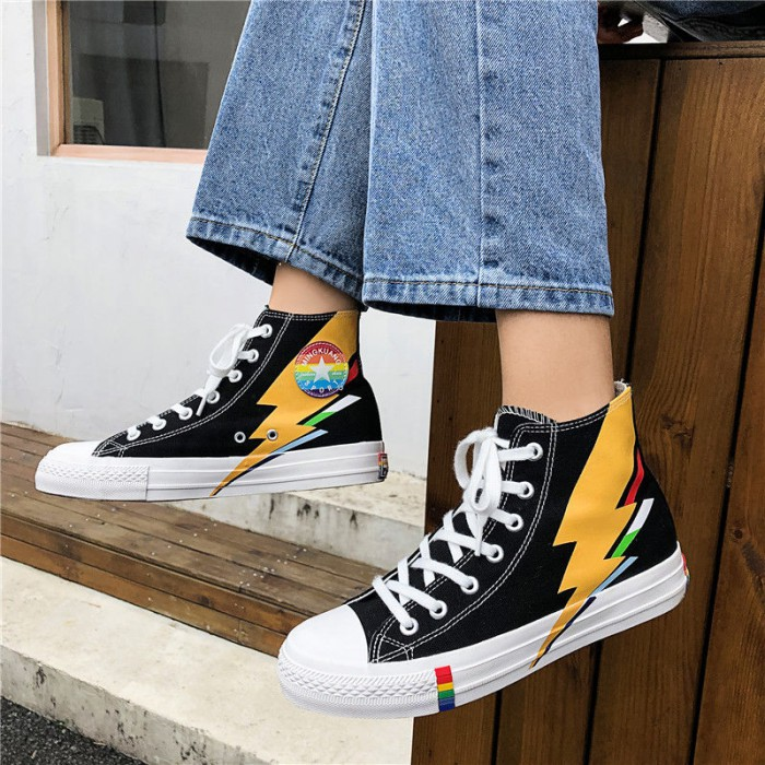 Rubber Outsole Casual Canvas Sports Shoes Korean Version High Help Design Style