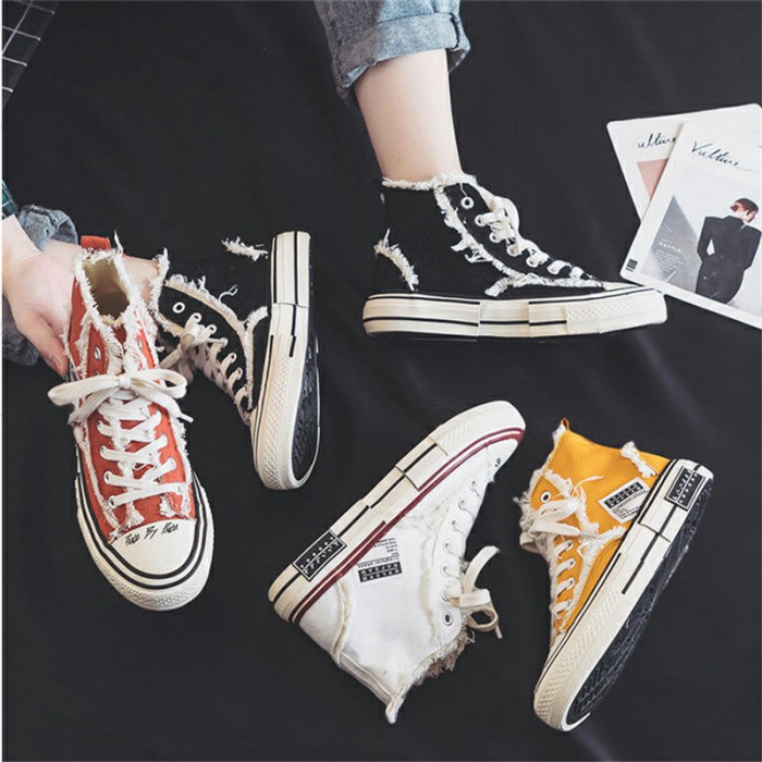 Cotton Upper Fabric Canvas Sports Shoes , Canvas Sneakers High Top