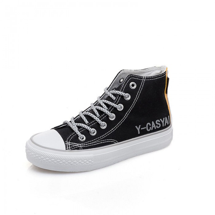 Casual Black High Top Canvas Shoes High Durability OEM ODM Available