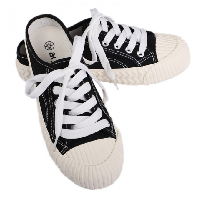 Breathable Womens Canvas Shoes Lace Up Sneakers Four Colors Optional